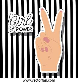 girl power poster text and hand in skin color sticker making victory signal on vertical striped background