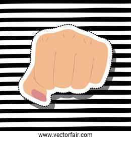 girl power with fist in skin color sticker on striped background