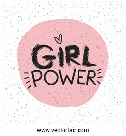 girl power emblem text in pink circle on white background with sparkles