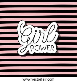 girl power text in sticker on striped background