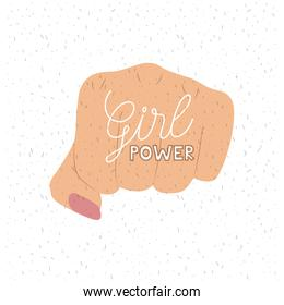 girl power text poster with female fist in skin color on white background with sparkles