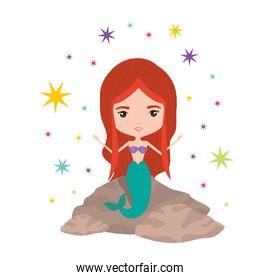 mermaid in a rock with colorful sparkles and stars on white background