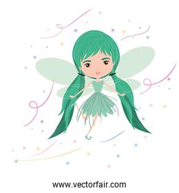 girly fairy flying with wings and pigtails hairstyle colorful sparks and stars on white background