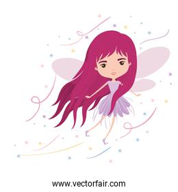 girly fairy flying with wings and long hair colorful sparks and stars on white background