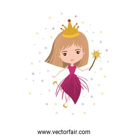 princess fairy with crown and magic wand and colorful stars on white background