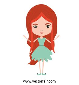 girly fairy without wings and redhead in green dress on white background