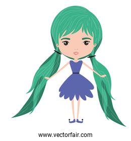 girly fairy without wings and green long hair with pigtails in purple dress on white background