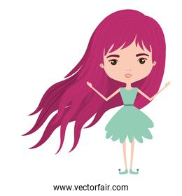 girly fairy without wings and magenta long hair in green dress on white background