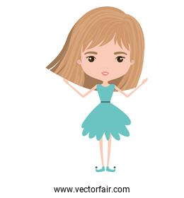 girly fairy without wings and light brown short hair in blue dress on white background