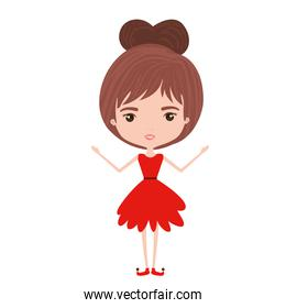 girly fairy without wings and brown collected hair in red dress on white background