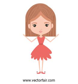 girly fairy without wings and light brown mushroom hairstyle in salmon color dress on white background