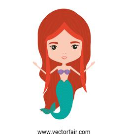 mermaid redhead in colorful silhouette over white background