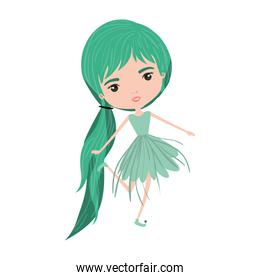 girly fairy without wings and green long hair with pigtail and dress in colorful silhouette over white background