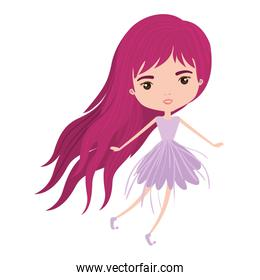 girly fairy without wings and magenta long hair in violet dress in colorful silhouette over white background