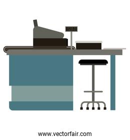 supermarket paypoint with cash register colorful silhouette over white background