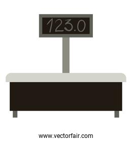 machine of weighing in colorful silhouette over white background
