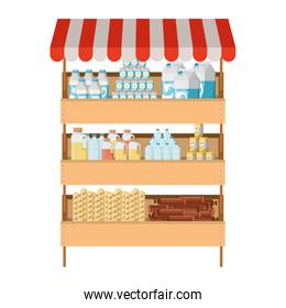 supermarket shelf with sunshade colorful with foods and beverages
