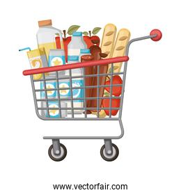 supermarket shopping cart with foods sausage and bread apples and drinks orange juice and water bottle and lacteal