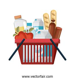 shopping basket with foods sausage and bread apples and drinks orange juice and water bottle and milk carton