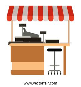 supermarket shelf with weighing machine and cash register point with sunshade colorful