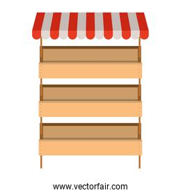 supermarket shelves with big storage with three levels and colorful sunshade