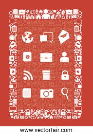 illustration of icons forming a tablet with icons vector illustr