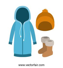 winter clothes with blue hooded sweater and yellow wool cap and boots over white background