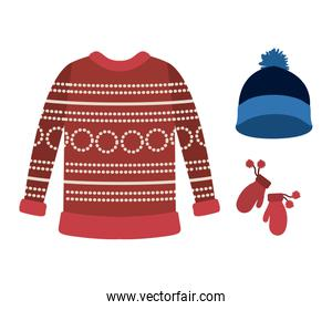 winter clothes with red wool sweater and blue wool cap and wool gloves over white background