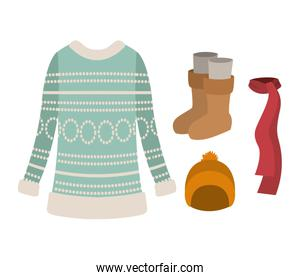winter clothes with blue wool sweater and scarf and yellow wool cap and boots over white background