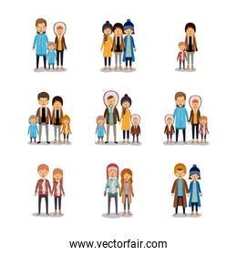 winter people colorful background with set of family couples and friends in winter clothes over white backdrop