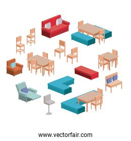 living and dining room furniture set in colorful silhouette over white background