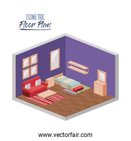isometric floor plan of bedroom single bed and couch in colorful silhouette