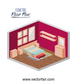 isometric floor plan of bedroom double bed and furnitures in colorful silhouette