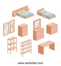 bedroom furniture set in colorful silhouette over white background