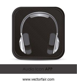 illustration of sound application icon with headphones vector il