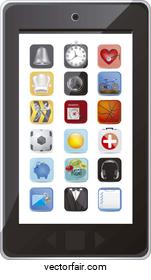 illustration of phone with application icons vector illustration