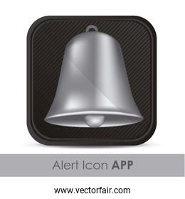 illustration of alarm application icon with silver bell vector i