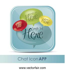 illustration of chat application icon with text balloons vector