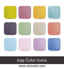 illustration of colorful icons for applications with lines textu