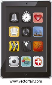 illustration of tablet with application icons vector illustratio