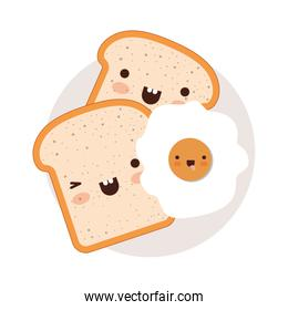 kawaii bread slices and fried egg on dish in colorful silhouette on white background