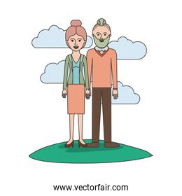 couple colorful scene outdoor and her with blouse and jacket and skirt and heel shoes with collected hair and him with beard and sweater and pants and shoes with taper fade haircut