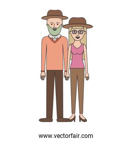 couple colorful silhouette and both with hat and him with beard and sweater and pants and shoes and her with glasses t-shirt sleeveless and pants and heel shoes with long straight hair