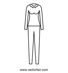 female clothes with pant and blouse long sleeve in monochrome silhouette