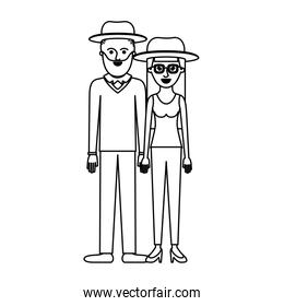 couple monochrome silhouette and both with hat and him with beard and sweater and pants and shoes and her with glasses t-shirt sleeveless and pants and heel shoes with long straight hair