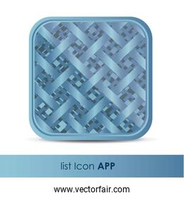 illustration of icon for application with fabric woven pattern v