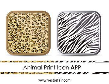 illustration of icon for application with animal print patterns