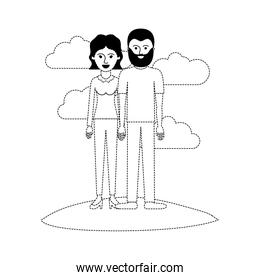 couple scene outdoor and her with blouse long sleeve and pants and heel shoes with short wavy hair and him with t-shirt and pants and shoes with short hair and beard in black dotted silhouette