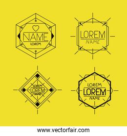 retro vintage insignias sketch set in monochrome silhouette in yellow background