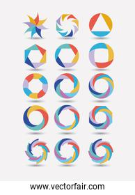 collection of colorful abstract circular symbols on white background